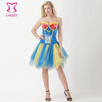 Carnival Party Club Wonder Woman Cosplay Costume Adult Halloween Costumes For Women Sexy Fancy Dress Burlesque Corset Skirt Set