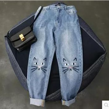 Cute Cat Pattern Embroidered Jeans With High Waist And Folded Cuffs