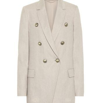 Cotton and linen-blend double-breasted blazer