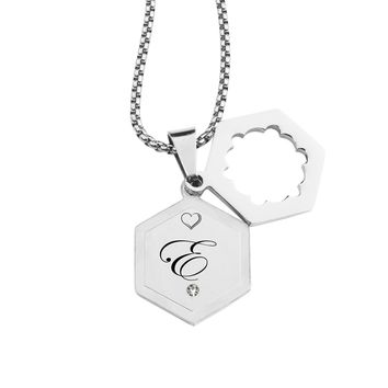 Double Hexagram Initial Necklace with Cubic Zirconia by Pink Box - E