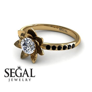 Unique Engagement Ring Diamond ring 14K Yellow Gold Flower White diamond With Black Diamond - Lotus