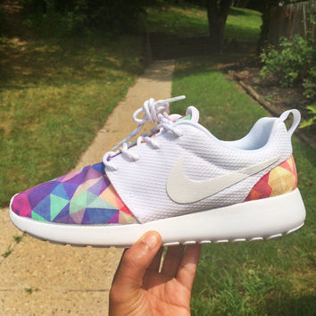 Colorful Geometric Custom Nike Roshe Run Sneakers