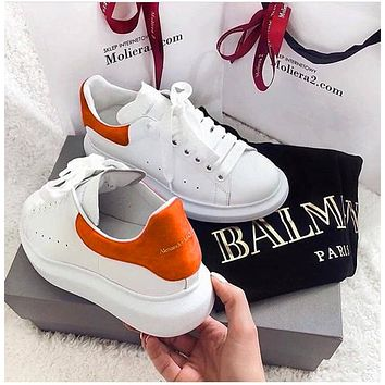 ALEXANDER MCQUEEN Fashion Woman Casual Sneakers Sport Shoes(Velvet Tail) Orange