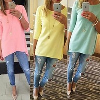 Women's Fashion Shirt 3/4 Sleeve Long Tops Women Cloth Ladies Female Beach Casual Tunics