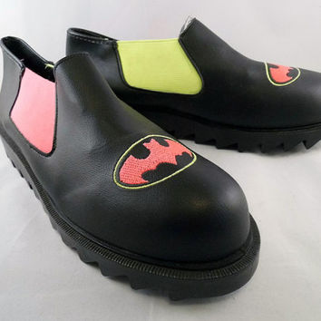 90s Batman Shoes Platform Creepers Fluorescent Yellow Neon Pink Scene Emo Chunky Sole DC Comic Club Kid Slip On Superhero Logo Sneaker Pumps