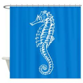 Seahorse On Blue Shower Curtain> Shower Curtains > Scarebaby Design