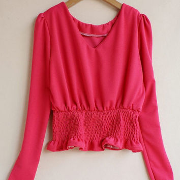 Long Sleeve High Elastic Waist Ruffled Top