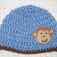 Flash Sale CYBER MONDAY Blue Monkey Hat 6-12 Months Baby Shower Gift, Infant, Perfect Photo Prop