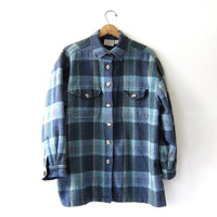 Vintag Plaid Wool Flannel / Wool Jacket w Pockets / Wool Button Up Coat
