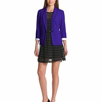Kensie Women's Stretch Crepe Blazer, Imperial Purple
