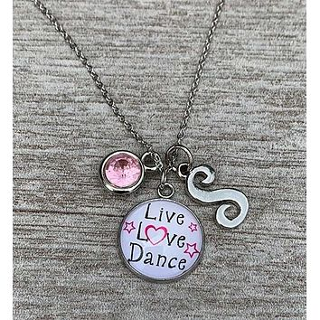 Live Love Dance Necklace with Birthstone & Letter Charm