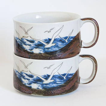 Vintage Otagiri Stoneware Seagull Soup Mugs, 1970s Seaside Beach Rustic Style WIDE Coffee Cups (PAIR)