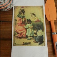 Victorian Dressed Cats Flour Sack Decorative Tea Towel