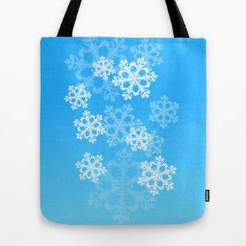 Cute blue snowflakes Tote Bag by Silvianna