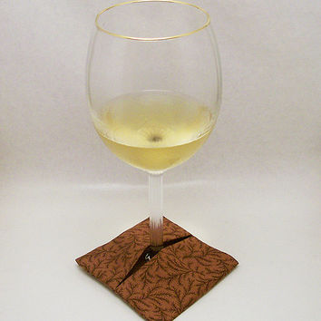 Wine Glass Coasters Brown - Set of 4
