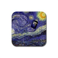 Doctor Who Tardis In Van Gogh Starry Night Rubber Square Coasters Set of 4