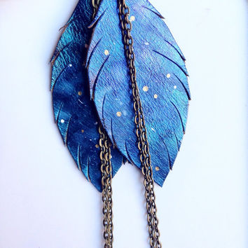 Galaxy Feather Earrings Leather Diffuser Jewelry Galaxy Jewelry Bohemian Jewelry Galaxy Earrings