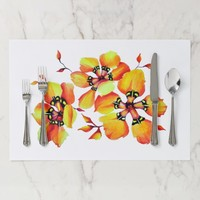 Bright Watercolor Orange Flowers - White Placemat