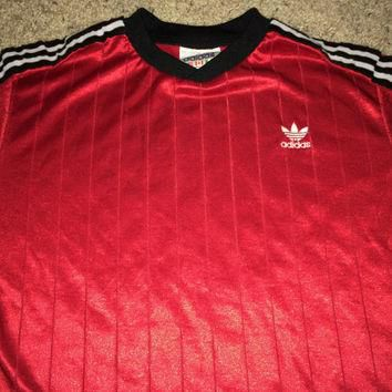 Sale!! Vintage 1980s ADIDAS Polyester red Activewear Shirt Soccer Jersey Football Made