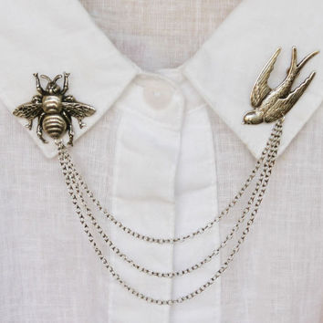 birds and the bees collar pins, collar chain, collar brooch, lapel pin, bee pin, bee brooch, bird brooch, bird pin