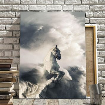 Colorful Boy Wall Art Canvas Painting Cloud White Horse Nordic Abstract Posters And Prints Kids Wall Pictures For Living Room