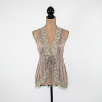 Boho Vest Women Small Romantic Lace Embellished Brown Green Boho Clothing Womens Clothing