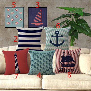 Nautical Anchor Sailor Sailing Map Cotton Pillow Cushion Sofa Piaochuang Pad Home Decoration Pillow Cover Cushion Cover