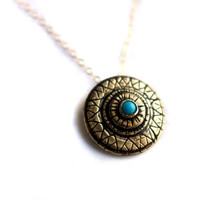 Chameleon's Eye - Hand Carved Brass Pendant with Turquoise