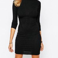 Black High Neck Knit Sheath Dress