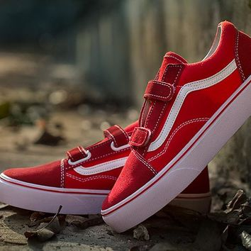 Vans Red Velcro Low Tops Flats Shoes Sneakers Sport Shoes