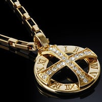 18k Gold Nano Injection Plated Mens Cross Crystal Pendant Chain Necklace #48