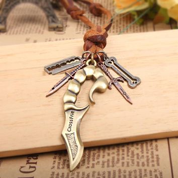 Mens Scorpion Knife Leather Necklace