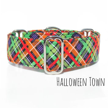 Orange Lime Plaid Halloween Dog Collar, Greyhound Whippet Italian Greyhound Martingale Collar, Boxer, Mastiff, Great Dane. Made in Canada.