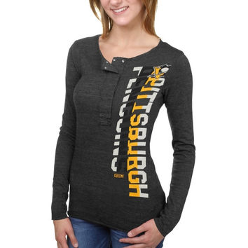 Pittsburgh Penguins CCM Women's Tri-Blend Long Sleeve Henley T-Shirt - Black