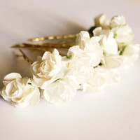 Bridal Hair Accessories, Ivory  Rose, Off White  flower Hair Bobby Pin, Brass Bobby pin- set 12