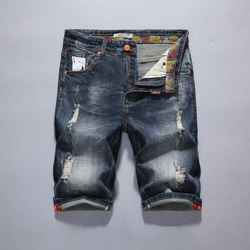 Denim Summer Ripped Holes Pants Men Stretch Vintage Slim Shorts [10699375875]