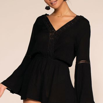 Say It Ain't So Embroidered Romper - Black