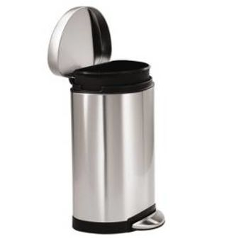 Simplehuman studio 10 Liter Semi-Round Step Trash Can, Brushed Stainless Steel