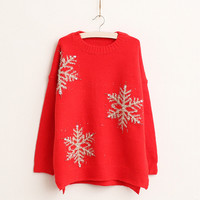 2016 Thick Women Sweaters And Pullovers Christmas Sweater For Women Sweaters Snowflake Beading Sweater Long Sleeve Pull Femme
