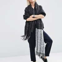 ASOS Oversized Long Woven Scarf In Colour Block Boucle