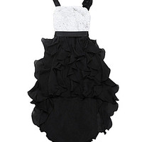 Tween Diva 7-16 Hi-Low Chiffon-Skirted Dress - Black