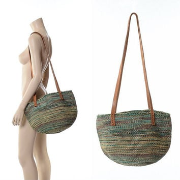 Vintage Tribal Leather Bag Woven Sisal Bucket Bag 70s 80s Ethnic Hippie Market Woven Straw Boho Purse Kenya Handbag Festival Tote
