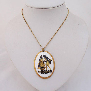 Vintage Connoisseur Bone China Pendant, Bone China Pendant and Necklace