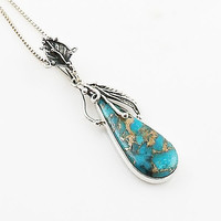 Blue Copper Turquoise Sterling Silver Vine Pendant