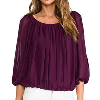 Alice + Olivia Braiden Boxy Gathered Top in Plum from REVOLVEclothing.com