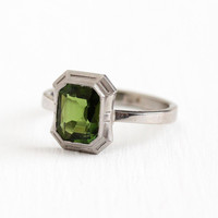 Green Tourmaline Ring - Vintage 1.57 CT Green Gemstone Platinum & White Gold - Size 6 1/2 Pin Conversion Fine Emerald Cut Engagement Jewelry