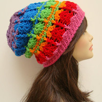 FREE SHIPPING - Mixed Media Crochet Slouchy Beanie - Rainbow, Hot Pink, Red, Orange, Lime Green, Blue, Violet Purple