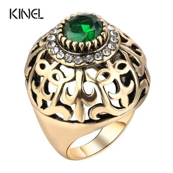 Kinel Dubai Gold Big Antique Ring Fashion Women Vintage Jewelry Hollow Crystal Flower Green Resin Wedding Engagement Ring