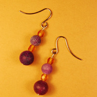 Purple Yellow Dragon Vein Beads Earrings