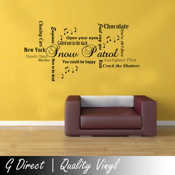 Snow Patrol Word Cloud Wall Sticker Quote Vinyl Decal Bedroom Graphic Mural Art 100x55